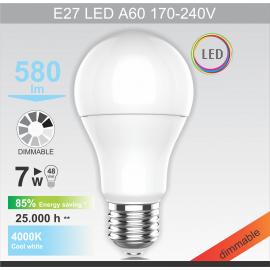 -S E27 LED 7W A60 dimabilna sijalica 220V 4000K