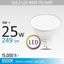 -S GU5.3 3W MR16M1 6500K LED sijalica 170-240V Mitea Lighting