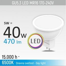 -S GU5.3 5W MR16M1 6500K LED sijalica 170-240V Mitea Lighting