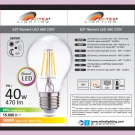 -S E27 5W A60 3000K filament LED sijalica sa senzorom dan/noć 230V 470lm Mitea Lighting