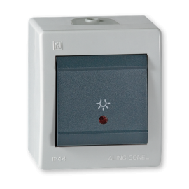 Aling taster svetla sa indikatorom sivo-antracit IP44 255I.1A OG Power